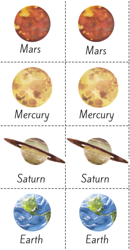 Free Watercolor Solar System Printable Memory Game!