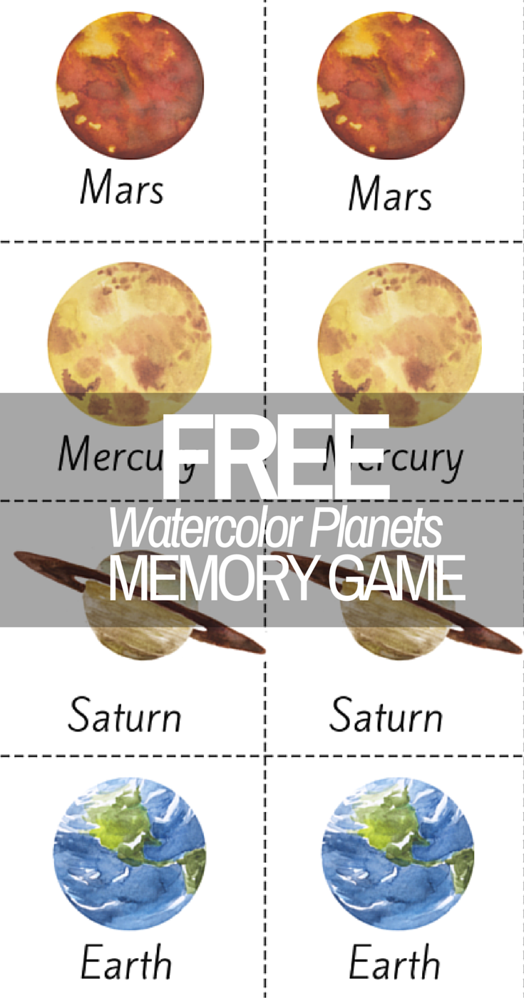 photo about Planets Printable identified as Appealing Watercolor Earth Sunshine Approach Printable Memory Activity!