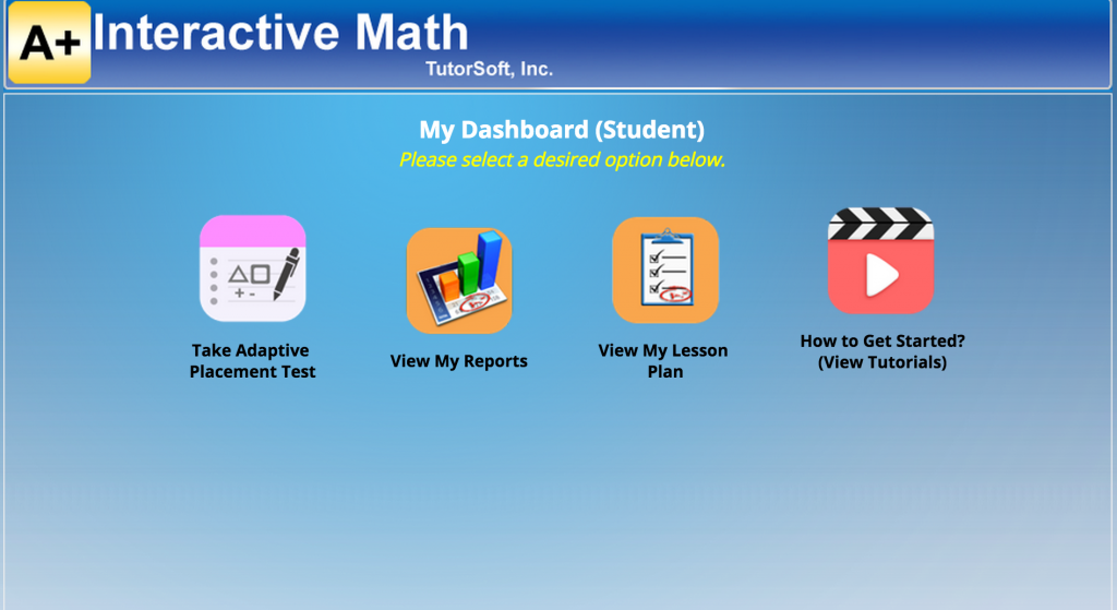 online math a plus tutorsoft screen shot