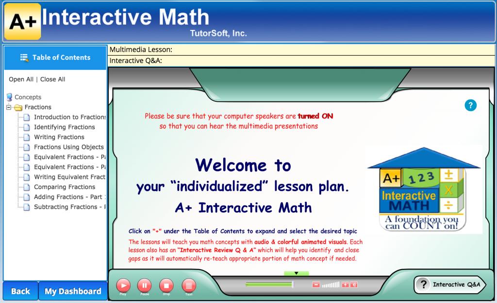 a+ interactive math lessons online math