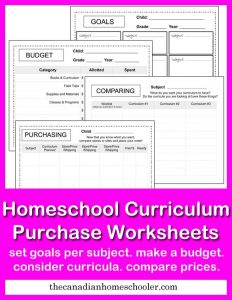 Choosing Curriculum and free homeschool curriculum worksheets