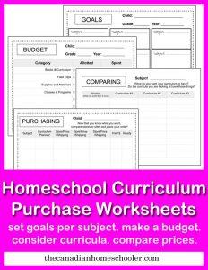 Choosing Curriculum and free homeschool curriculum worksheets