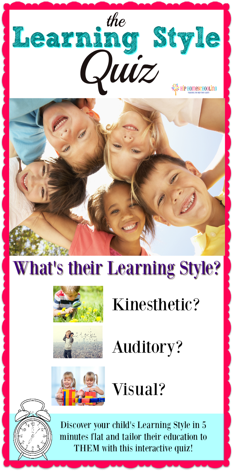 Do you know your child's learning style? Come take this simple, interactive learning style quiz and find out the best way to teach/homeschool YOUR child!