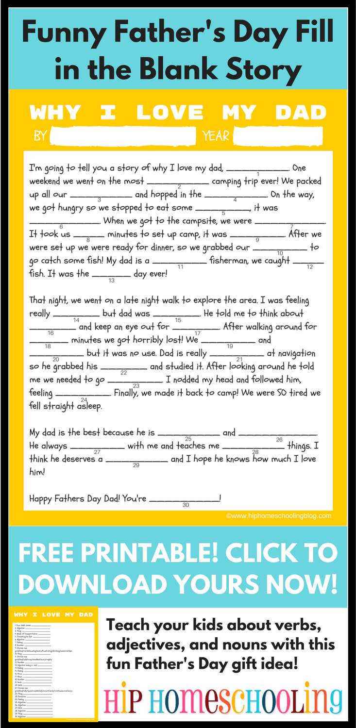 homemade fathers day gifts: Grab your FREE PRINTABLE funny, fill-in-the-blank story he'll love! Fathers Day | Fathers day gifts from kids | fathers day gifts | fathers day crafts for kids | fathers day ideas | unique fathers day gifts | unique fathers day gifts from kids | unique fathers day ideas | unique fathers day diy | unique fathers day | homemade fathers day gifts | homemade fathers day gifts from kids | homemade fathers day cards | homemade fathers day | homemade fathers day gift ideas
