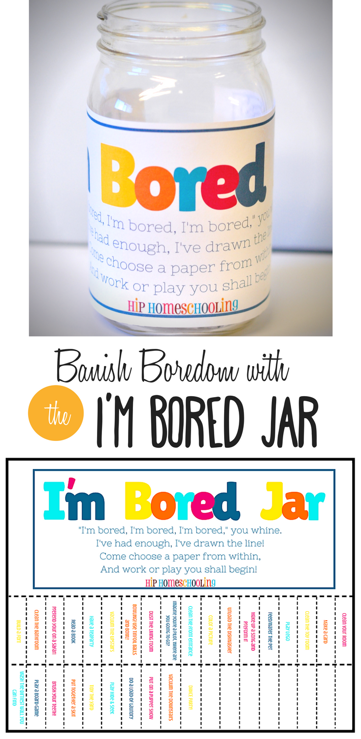 The I'm Bored Jar free printable! Find some creative boredom buster ideas and motivation for your kids! Filled with funny activities, crafts, and even chores, your little ones won't know what to expect when they reach their hand in! bored | bored jar | I'm bored | Im bored | boredom buster