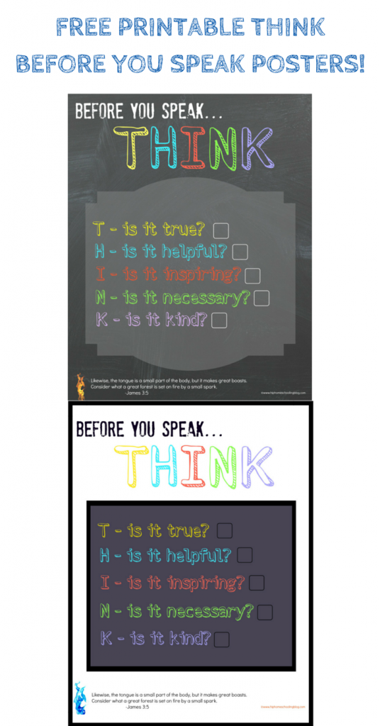 Think before you speak tattling solution! Help teach the difference between tattling and coming to a parent for help with this free printable!