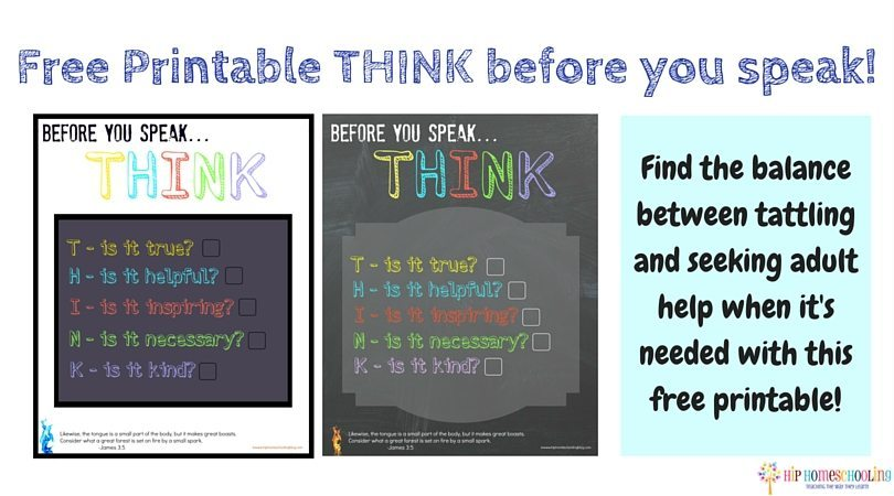 Tattling Solution: Free THINK before you speak printable