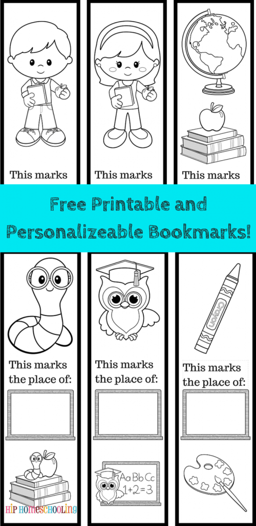 #FreePrintable Bookmarks to color and personalize! 6 included, black and white, come grab them now, print, decorate and laminate to use over and over again!