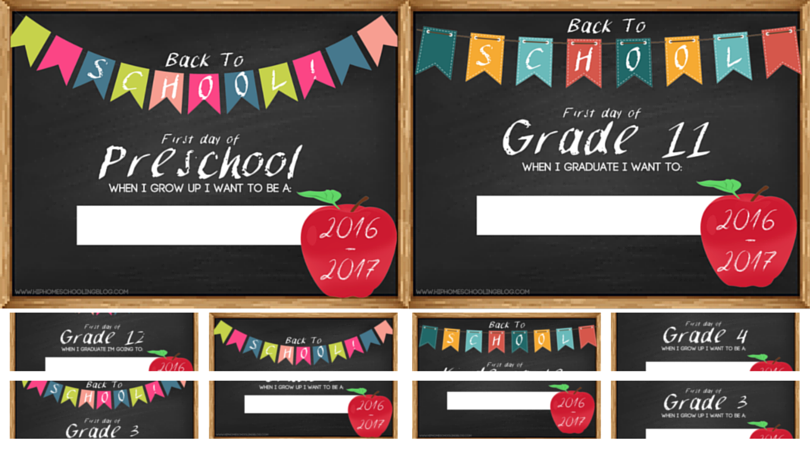Free First Day of School Signs for Preschool to Grade 12! (NEW for 2016/2017)