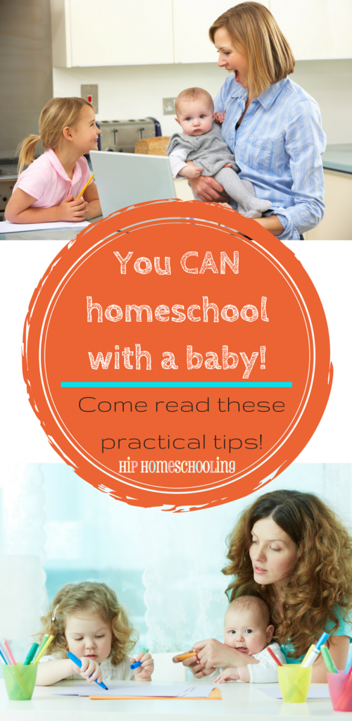 You CAN homeschool with a baby! Come read these practical tips from moms who have done it!