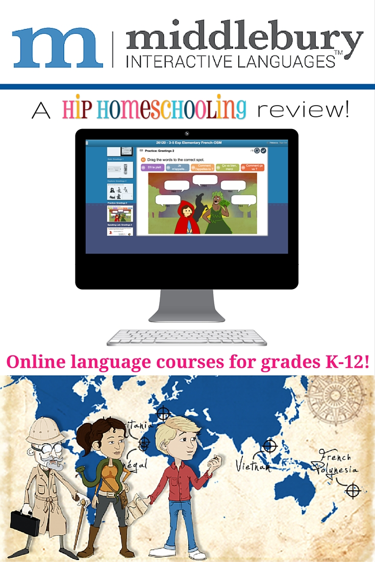 Online language courses for grades K-12! Come find out how to learn a language with this review of Middlebury Interactive Languages by Hip Homeschooling!