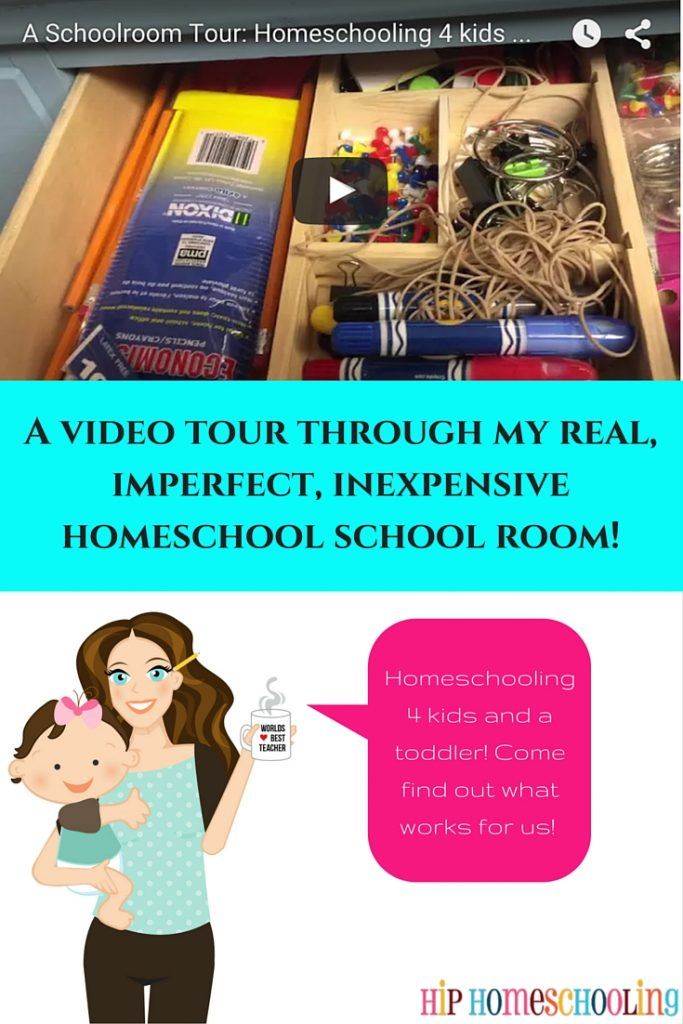 A video tour through my real, imperfect, inexpensive homeschool school room!