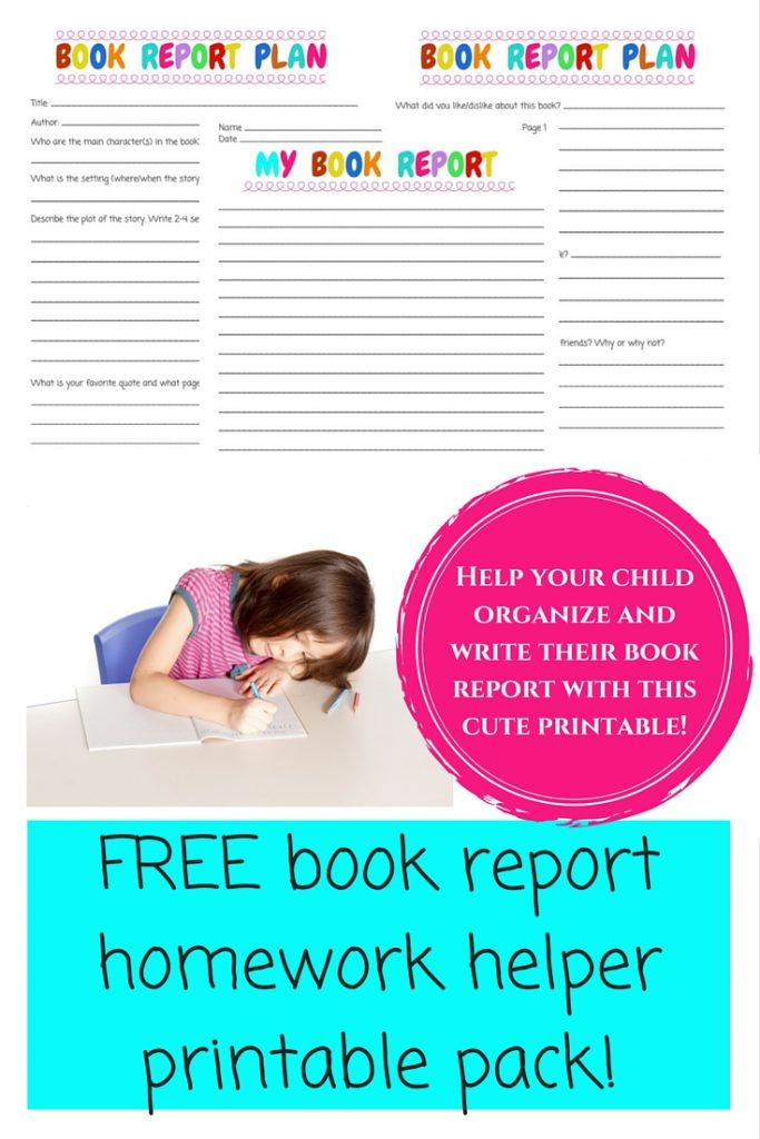 FREE Book report homework helper printable pack!