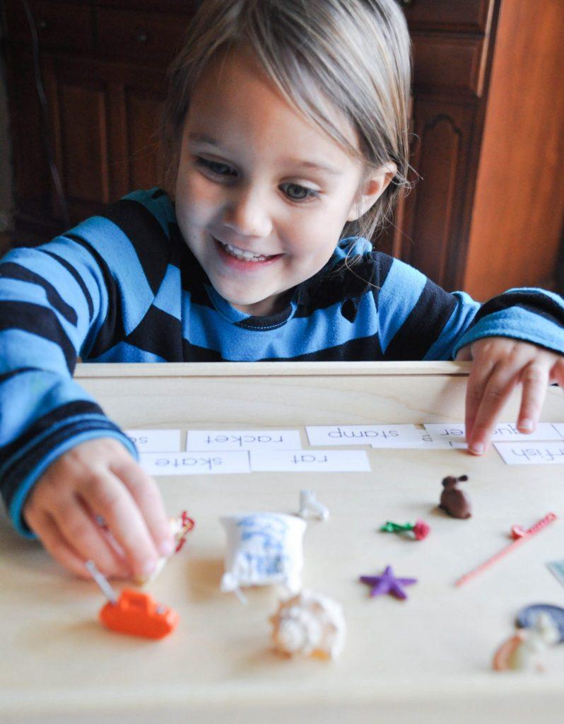 montessori alphabet tray