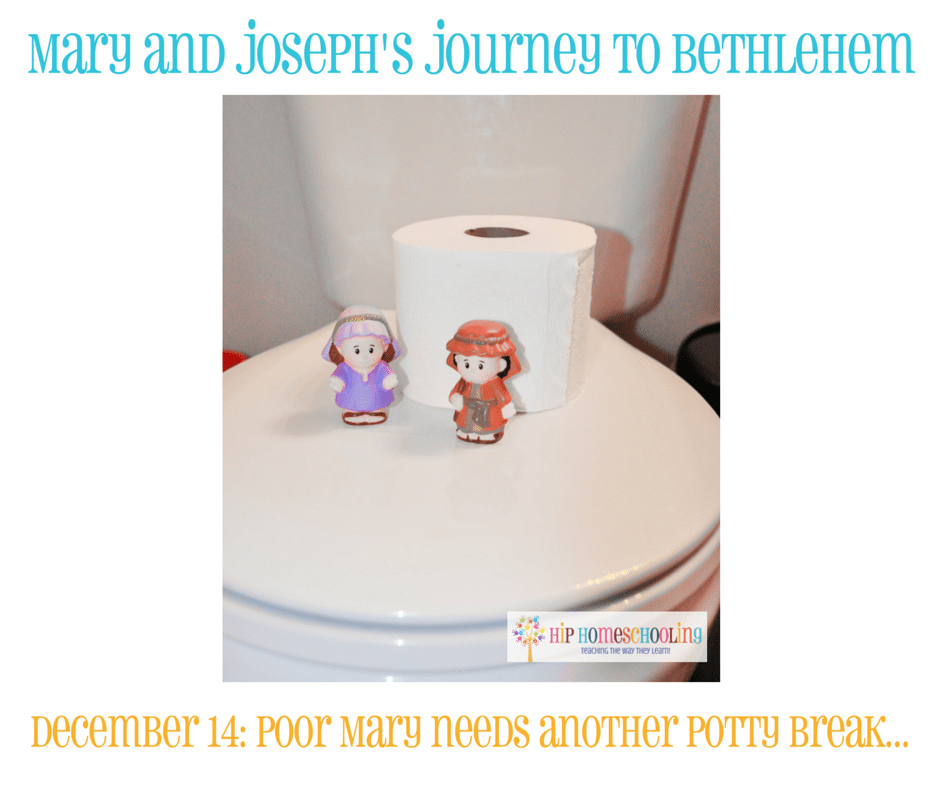 Elf on the Shelf Alternative- Journey to Bethlehem. Fun ideas for each day leading up to Christmas with pictures! December 14th