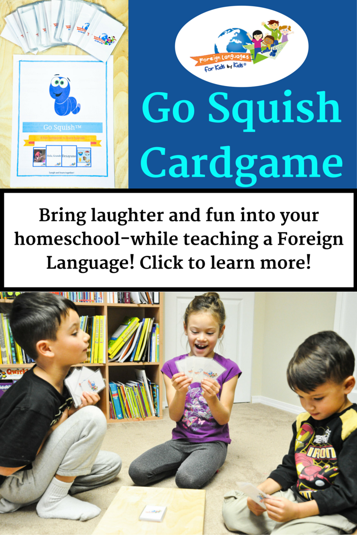 Go Squish Cardgame: start teaching your kids new spanish vocabulary the fun way with @Forkidsbykids