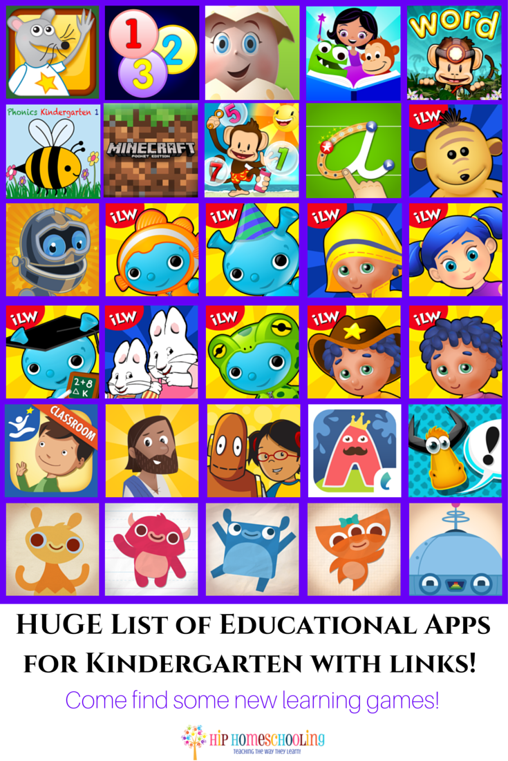 HUGE List of Educational Apps for Kindergarten with links! Come check out the best apps for kindergarten and download some new learning games!