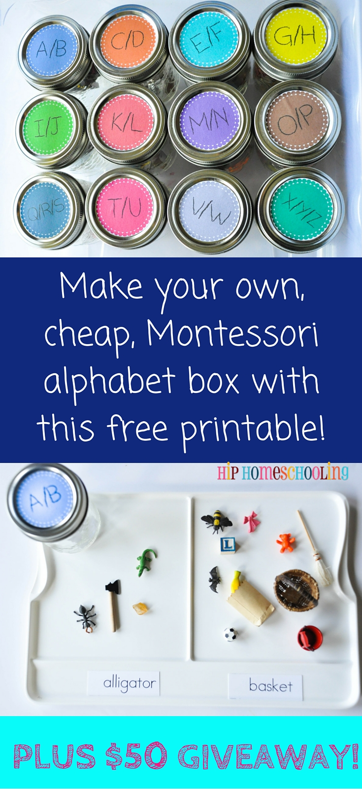 Make your own, cheap, Montessori alphabet box with this free printable! Plus #entertowin a $50 gift card from @montessoriserv #montessoriservices #montessori #alphabetbox #freeprintable