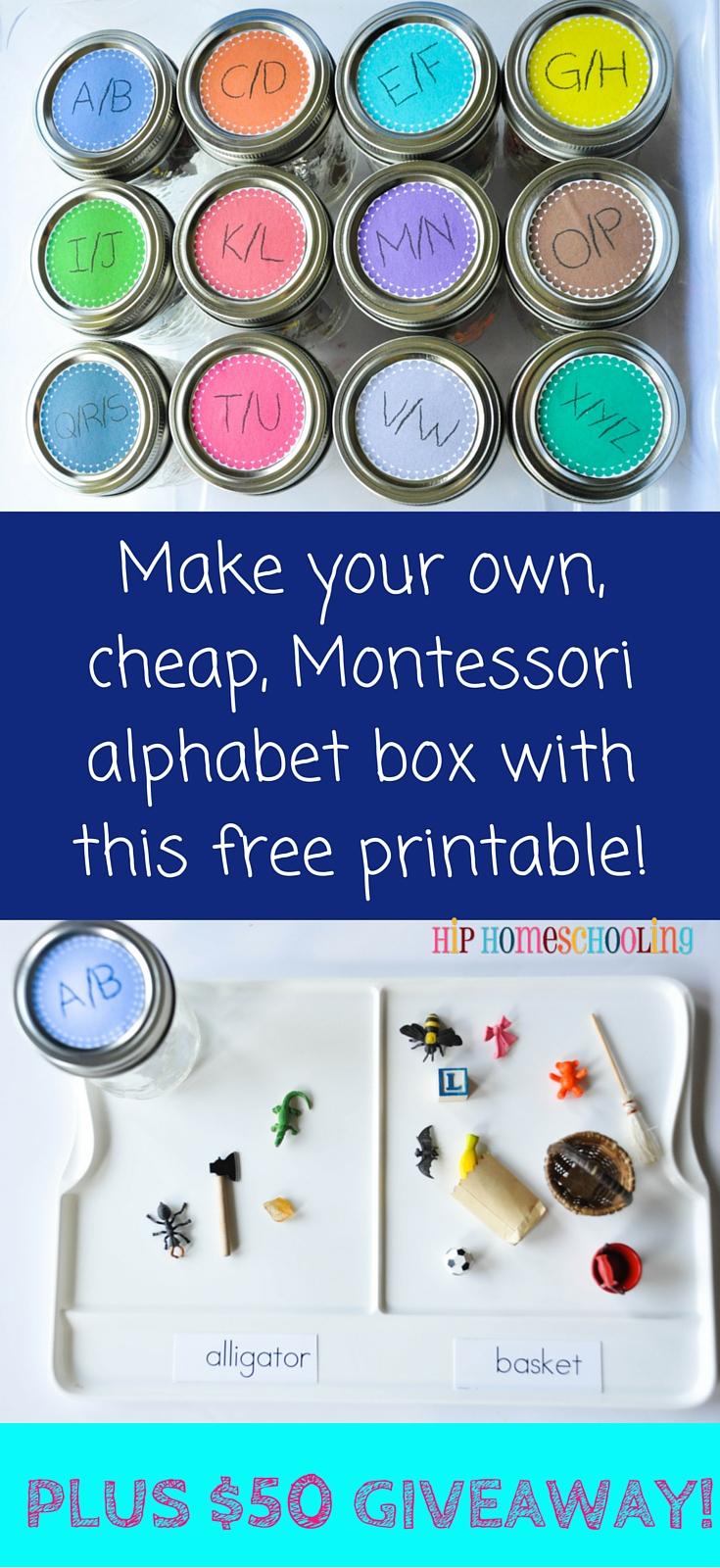 Make your own, cheap, Montessori alphabet box with this free printable! Plus #entertowin a $50 gift card from @montessoriserv #montessoriservices #montessori #alphabetbox #freeprintable