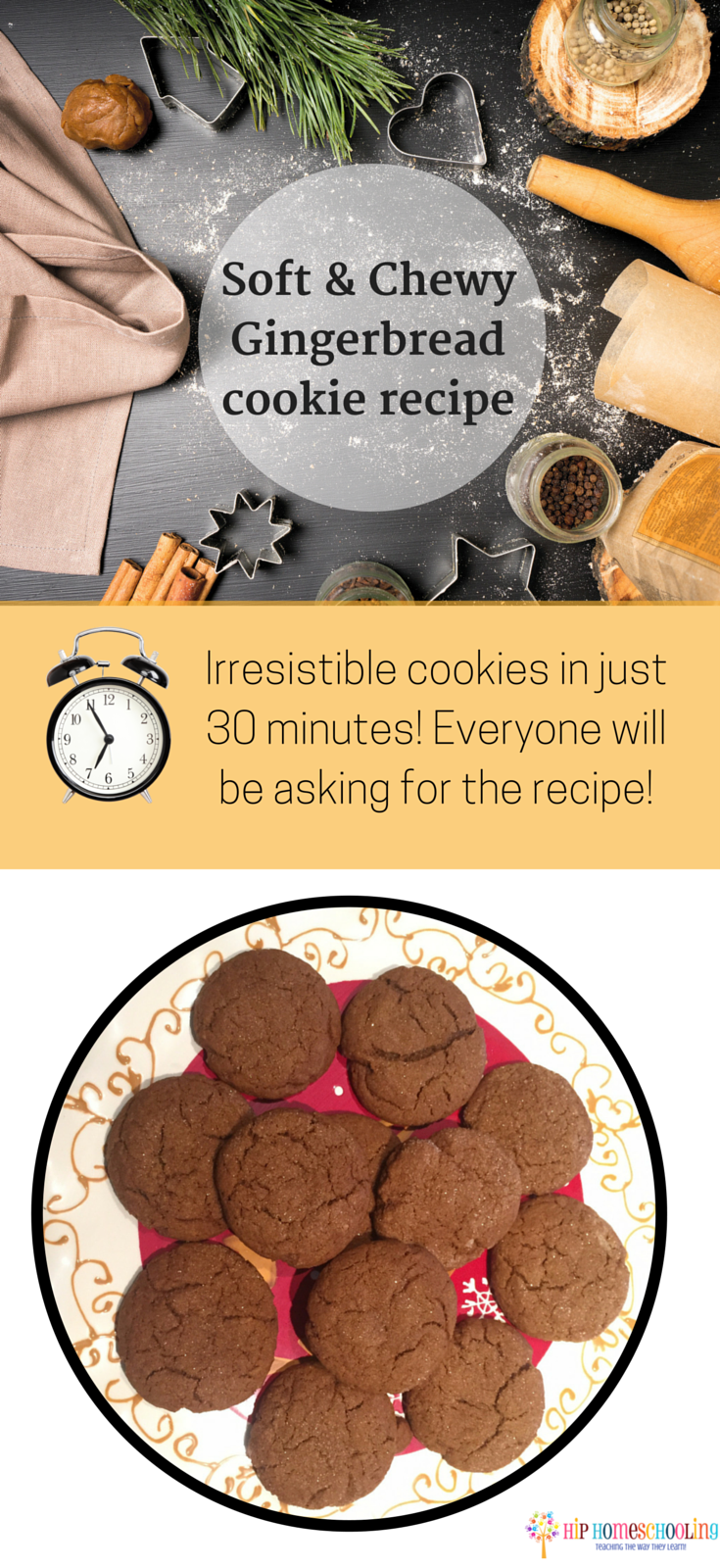 soft & chewy gingerbread cookie recipe: you'll be the talk of the cookie exchange with this quick and easy recipe! Your mouth will thank me for this... your waistline will not!