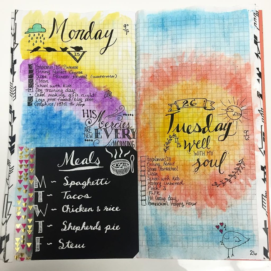 Watercolor Bullet Journal Planning Page