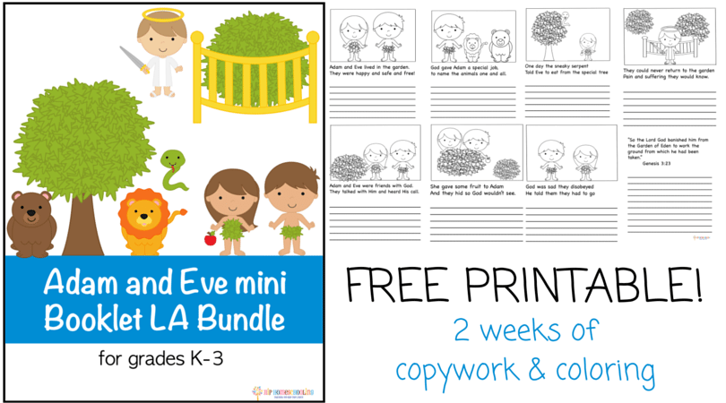 Free Printable Copywork Mini Booklet: Adam and Eve