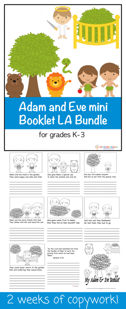 picture relating to Homeschool Grade Book Free Printable referred to as Cost-free printable copywork minibook for K-3: Adam and Eve