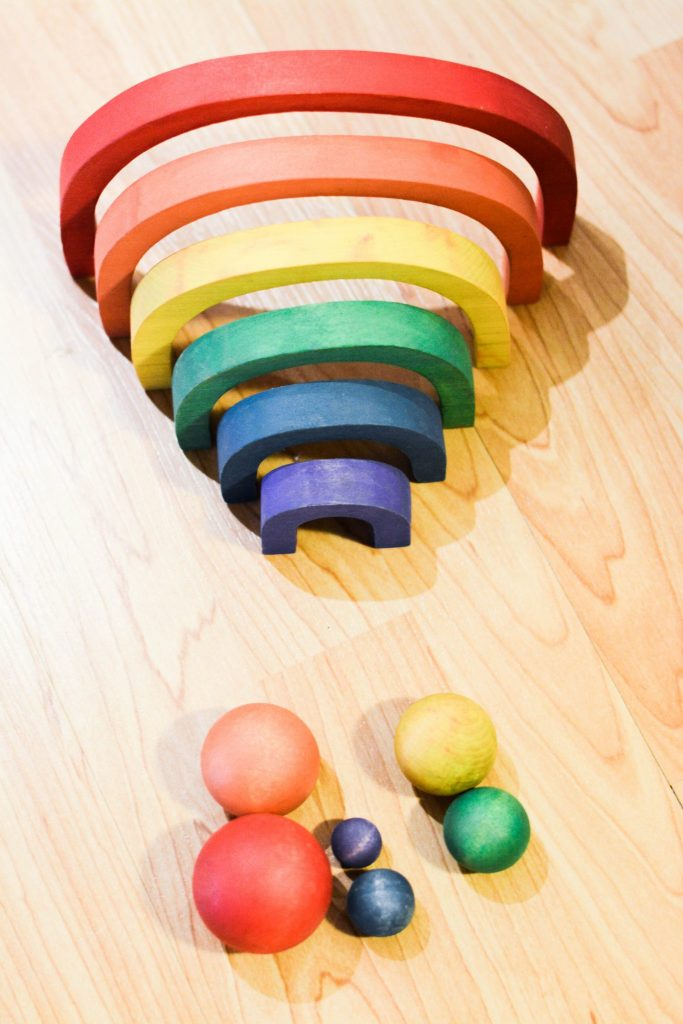 Montessori at Home with Wooden rainbow activity