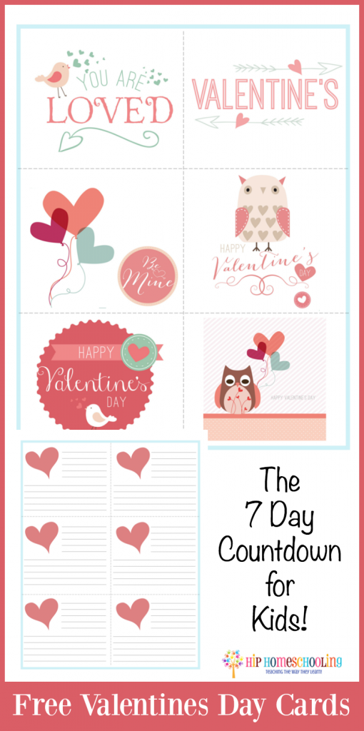 Free Valentines Day Cards and the 7 day countdown! Check out this adorable Valentines Day activity for kids!