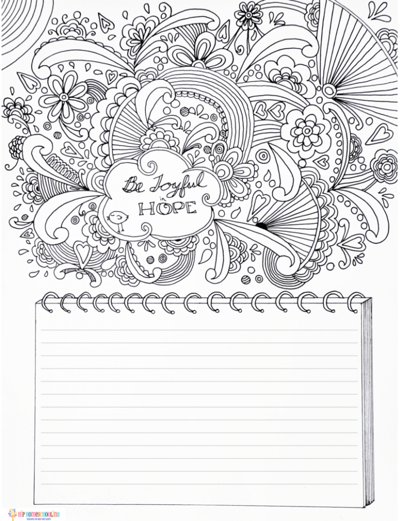 Gratitude Journal Coloring page and journaling template
