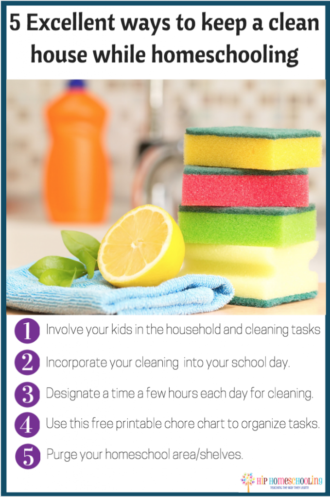 5 excellent ways to keep a clean house while homeschooling: Check out this free printable chore chart for the whole family!