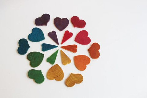 montessori at home with wooden counting hearts