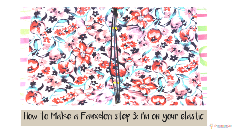 how to make a fauxdori step 3- pin on your elastic