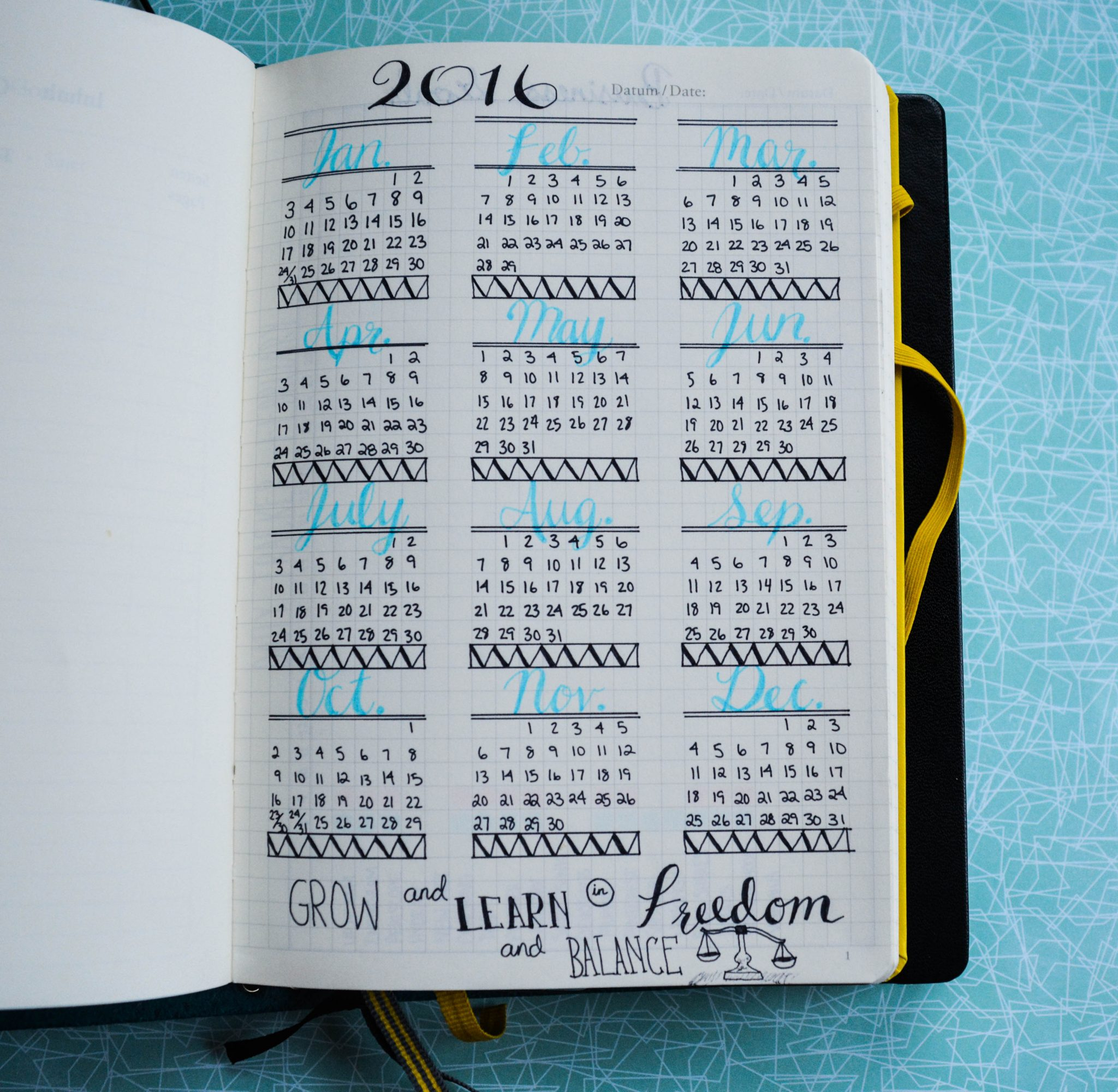 Bullet Journal Year at a Glance. I love bullet journaling!