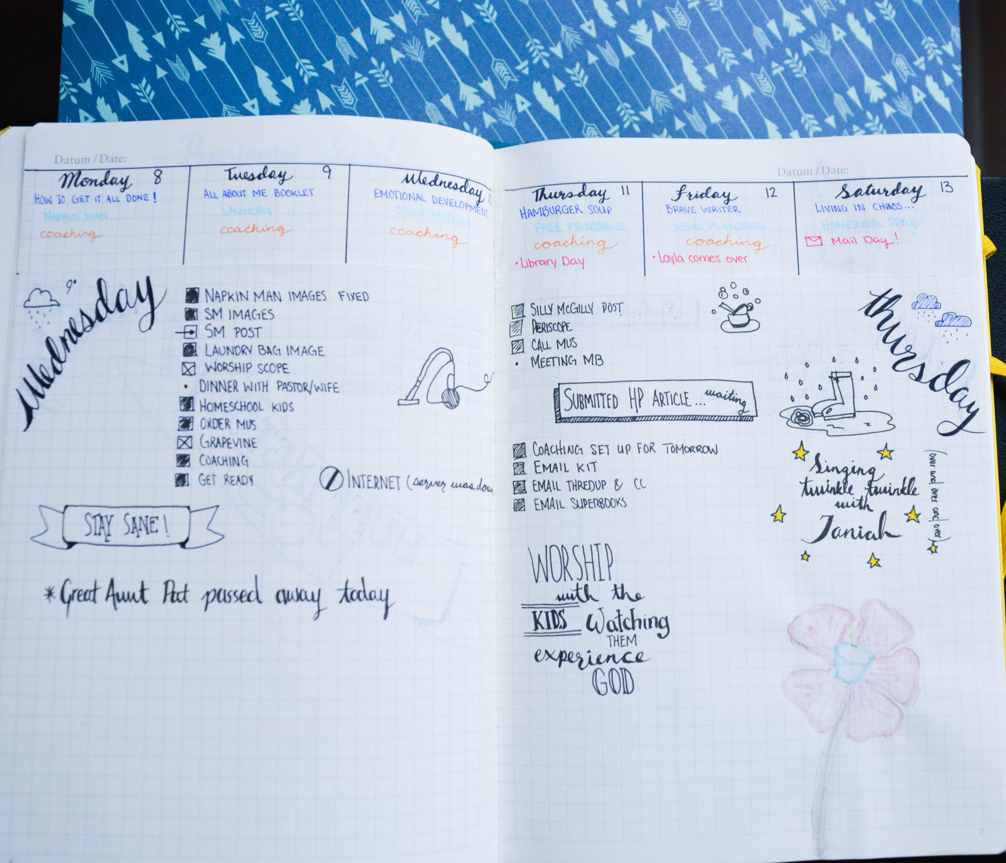 Bullet journaling: Week at a glance window cut into the top of all my daily pages, and the daily pages underneath.