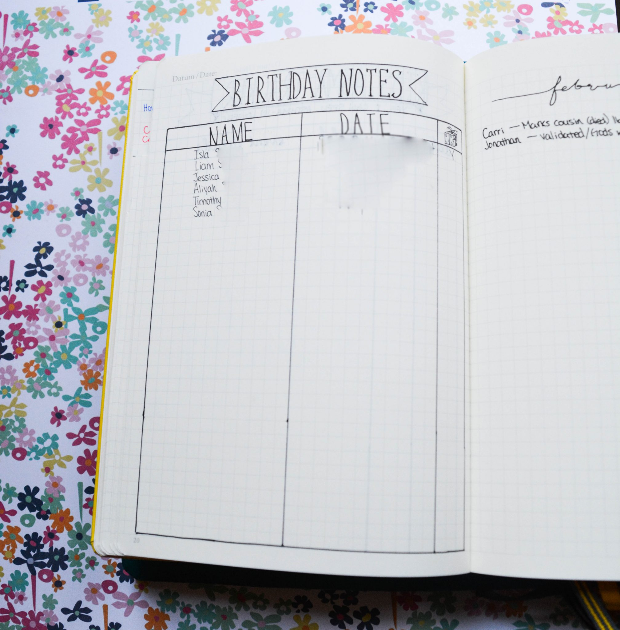 Bullet Journaling with my birthday tracker