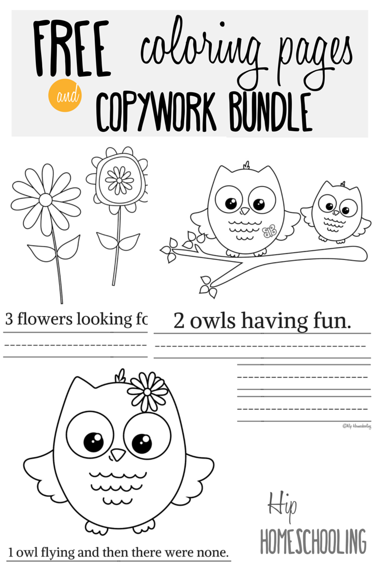 free printable owl coloring pages and copywork bundle