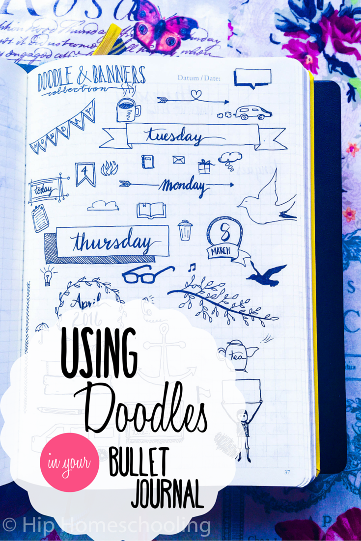 Using Doodles in your Bullet Journal: Bullet Journaling | Bujo | Bullet Journal Junkies | Planner | Planning | Doodles | Doodling | Planner icons | Planner Doodles | Banner Doodles | Bujo junkies | homeschool planner