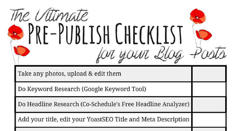 Blog Post Checklist Printable