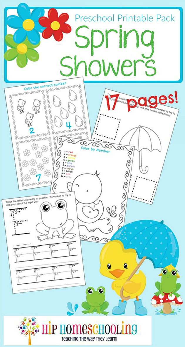 Free Spring Showers Preschool Printable Pack
