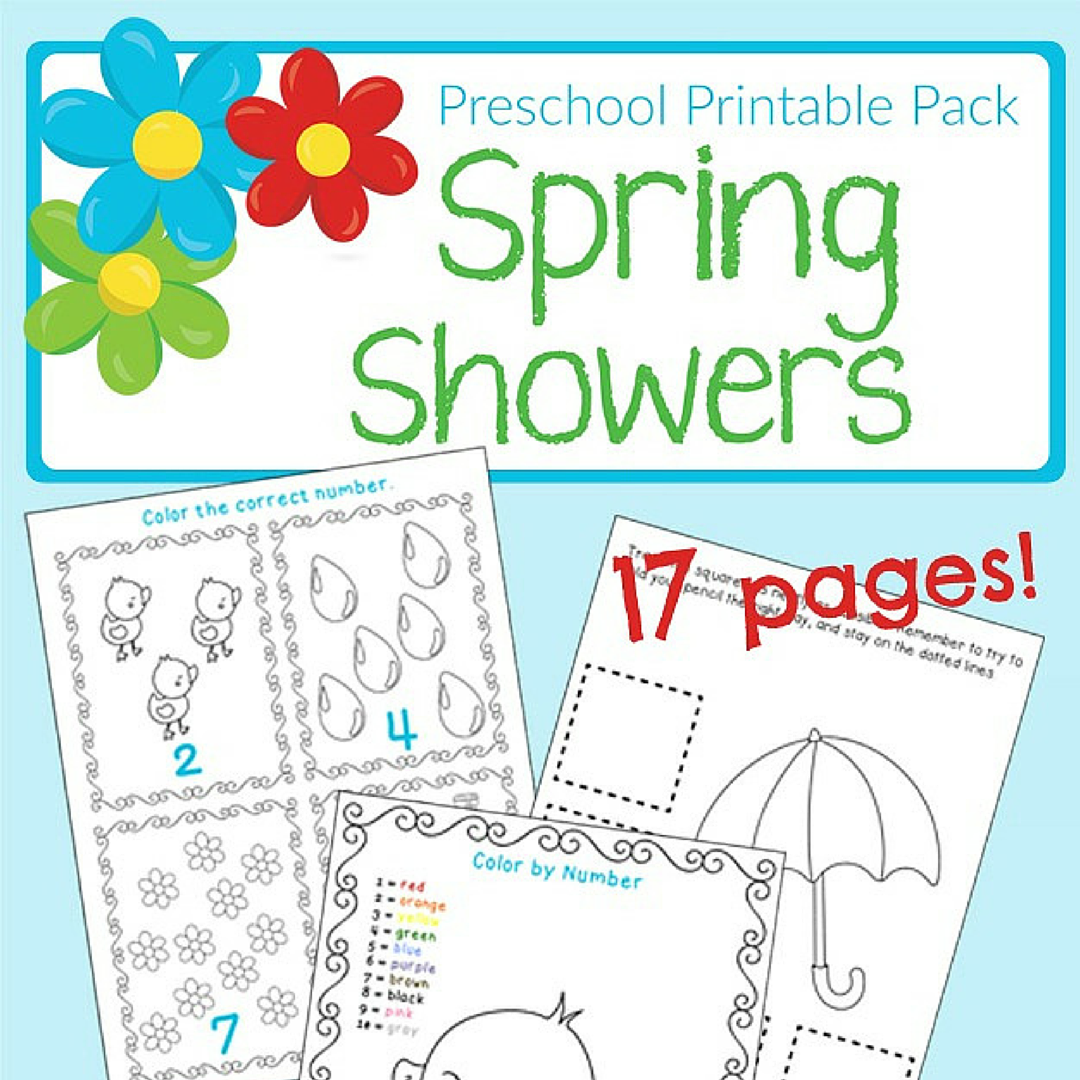 Free Spring Themed Printable Worksheets for Preschool