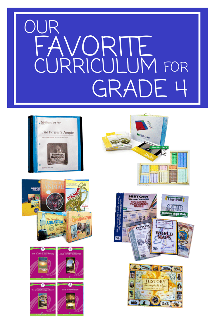 Our Favorite Curriculum for Grade 4 | homeschool curriculum for grade 4 | grade 4 homeschool curriculum | homeschooling grade 4 | grade 4 math | math u see | math u see review | grade 4 language arts | brave writer | brave writer review | grade 4 writing | grade 4 science | Master books | master books curriculum | grade 4 bible curriculum | Grapevine Studies review | grade 4 art program | home art studio review | grade 4 social studies | home school in the woods | homeschool in the woods review | elementary art | elementary science | elementary math curriculum