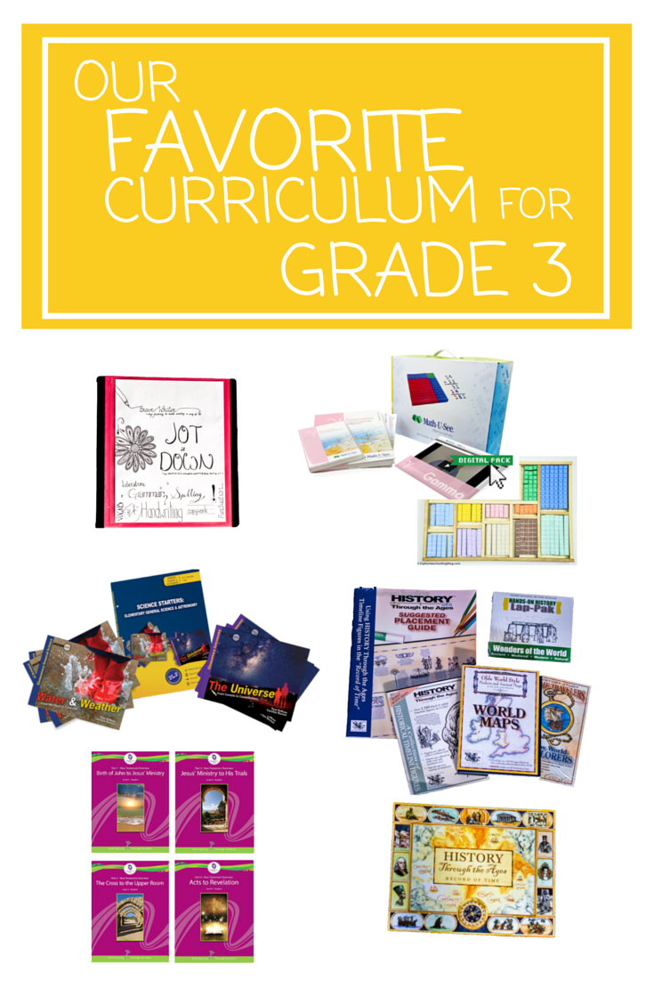 Our Favorite Curriculum for Grade 3 | homeschool curriculum for grade 3 | grade 3 homeschool curriculum | homeschooling grade 3 | grade 3 math | grade 3 language arts | grade 3 writing | grade 3 science | grade 3 bible curriculum | grade 3 art program | elementary art | elementary science | elementary math curriculum