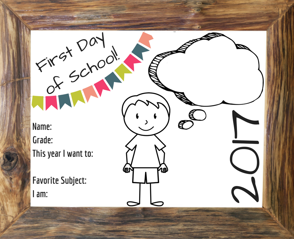 Free First Day of School Signs (NEW for 2017)