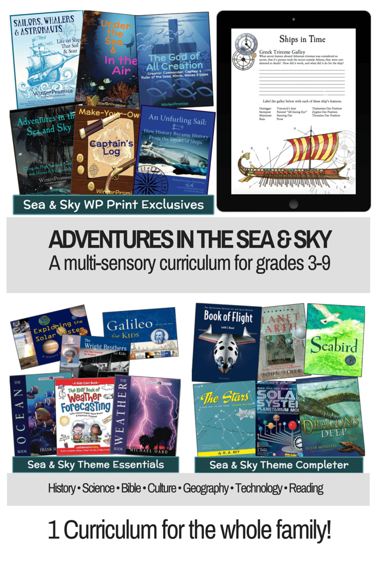 Adventures in the Sea and Sky, an amazing new multi-sensory curriculum that can be taught to all your children between grades 3 and 9 (with extended ideas for younger and older children). Charlotte Mason Curriculum | winter promise | winterpromise | homeschool science | homeschool social studies | homeschool socials | homeschool culture | homeschool unit studies | unit studies | charlotte mason ideas | charlotte mason inspired | charlotte mason homeschooling | homeschooling charlotte mason | notebooking | homeschooling grade 3 | homeschooling grade 4 | grade 5 | grade 6 | grade 7 | grade 8 | grade 9