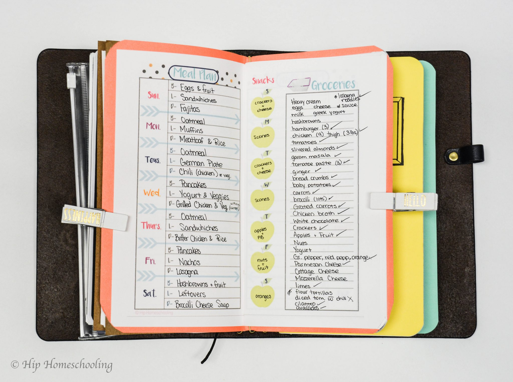 Meal planning insert