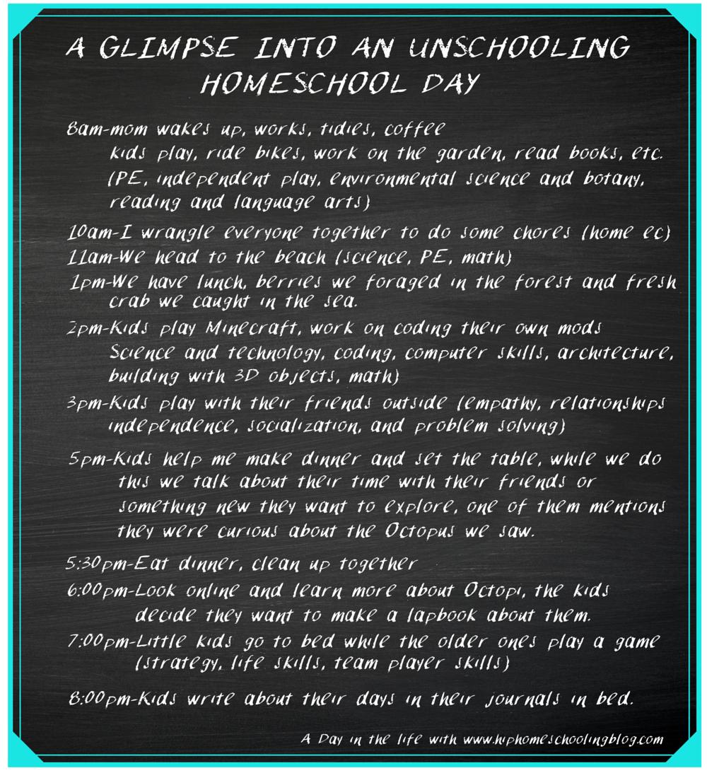 Unschooling Homeschool Schedule