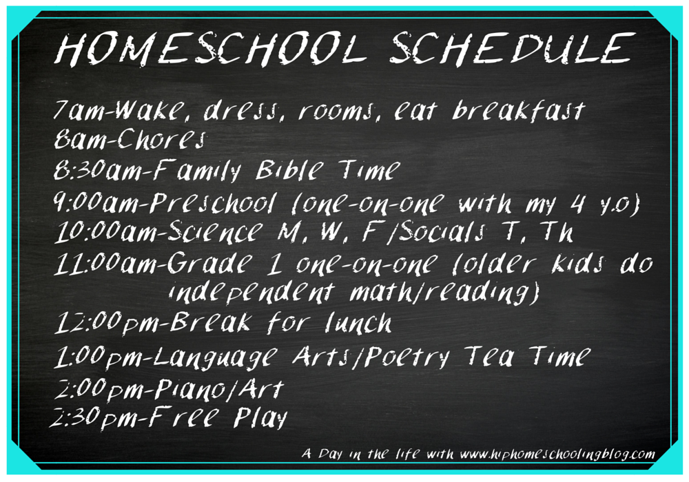 Typical homeschool schedule