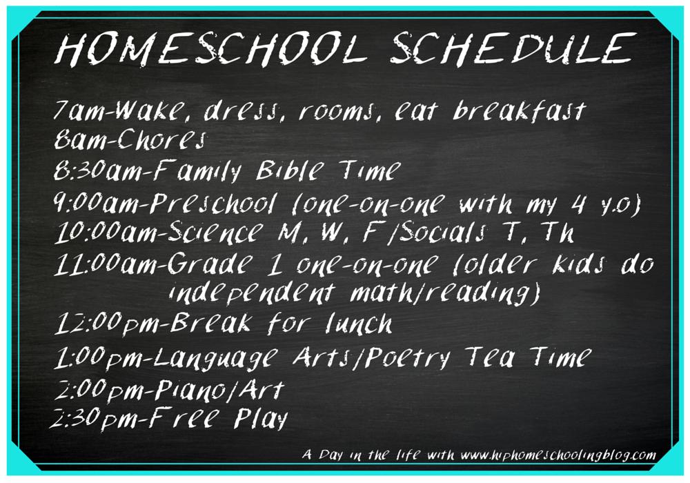 Typical homeschool schedule