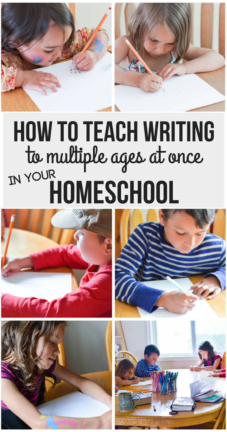 How to Teach Writing to multiple ages at once in your homeschool | writing curriculum | writing program | elementary writing | brave writer | bravewriter | brave writer review | how to use brave writer with multiple kids | brave writer lifestyle | free write | freewrite | homeschool language arts | elementary language arts | curriculum review | homeschool curriculum | homeschooling | grade 1 language arts | large family homeschooling | curriculum for large families | secular homeschool curriculum | secular language arts | grade 2 language arts | reluctant writer | reluctant writers | grade 3 language arts | how to teach writing